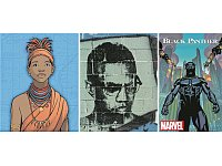Schwarze Helden von Ta-Nehisi Coates: Königin Nzinga (hier in einem Comic der Unesco), Malcolm X (auf einem Graffiti), Superheld Black Panther. - © Unesco, Serge Attal/Corbis, Marvel