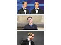 Zuckerberg mit russischem Investor Milner (rechts oben), Entwickler Kogan (mitte) und Cambridge Analytica-Chef Nix (unten). Fotos: apa/Steve Jennings, University of California Berkeley/afp.