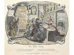 Scraps and sketches, etc. - caption: ''The Gin shop'. A satirical sketch on the dangers of drinking alcohol', George Cruikshank, 1828.